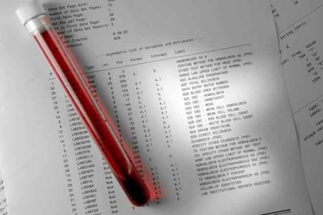 Пробирка с кровью после анализа